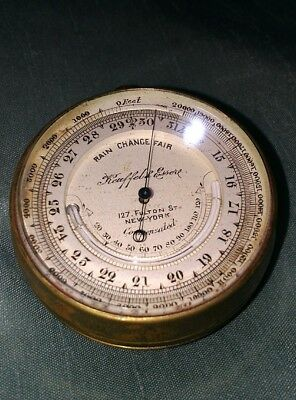 Rarest Kuffel Esser Compensated pocket barometer thermometer 127. FULTON St.