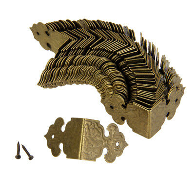 100x Decorative Jewelry Gift Wine Wooden Box Corner Protector Guard Golden
