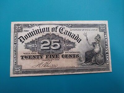1900 Dominion Of Canada 25 Cents Certificate Green Back  . Extra Fine