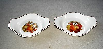 Pair of Vintage/ Retro Ulster Round Eared Entrée Dishes, Cream with Fruits