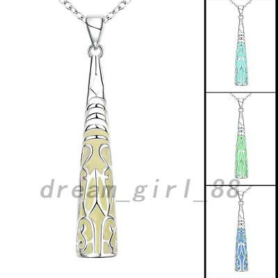 Cone Pointed Glow In The Dark Stick Hollow Luminous Pendant Necklace Jewelry DG
