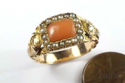 ANTIQUE ENGLISH LATE GEORGIAN 9K GOLD CORAL & SEED PEARL RING c1830's