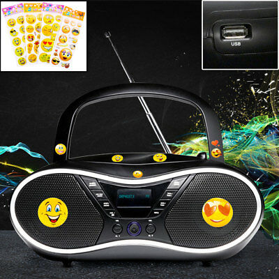 Stereo Anlage MP3 CD Player Party Radio tragbar USB Wecker AUX Smiley Aufkleber