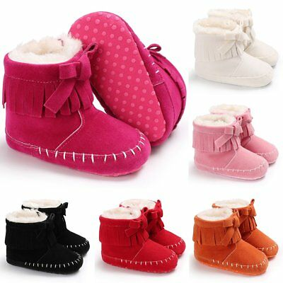 Infant Newborn Baby Girl Soft Sole Boots Toddler Tassel Moccasin Crib Shoes0-18M