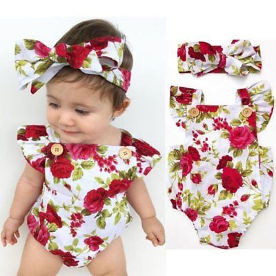 Newborn Baby Girl Floral Romper Bodysuit Jumpsuit Headband Outfits Clothes Sets