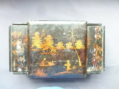 Btiful F.i China Hand Painted Lacquer Ware Antique Jewellery/dressing Table Box