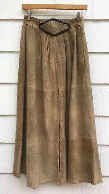 Vintage 1940s Tan Suede Nipped Waist A Line Full Skirt Embroidered Womens XS