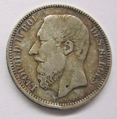 1866 Belgium Leopold II 2 Francs.  See Details and Pictures.  Ships to U.S. only