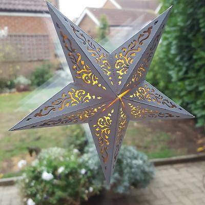 White Wooden Led Chic Shabby Window 5 Pointed Star Christmas Decoration