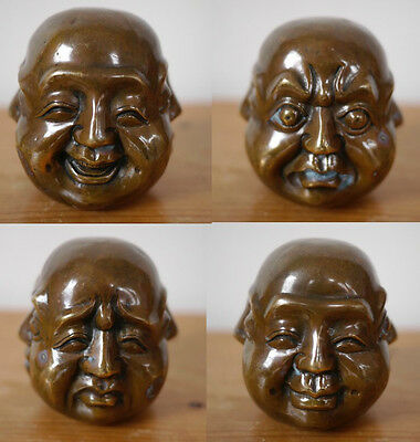 """Vintage Antique Four Face Buddha Chinese Asian Bronze Head 3.5"""" Beautiful Patina"""