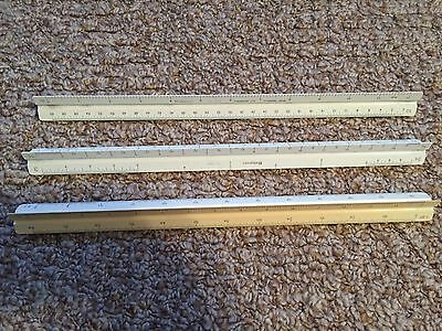 Charvoz Drafting Engineers Triangular Scales Lot of 3