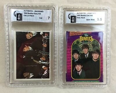 The Beatles 1964 TOPPS Diary Cello Pack SEALED - GAI 7 NM + GAI Foil Pack 9.5 GM