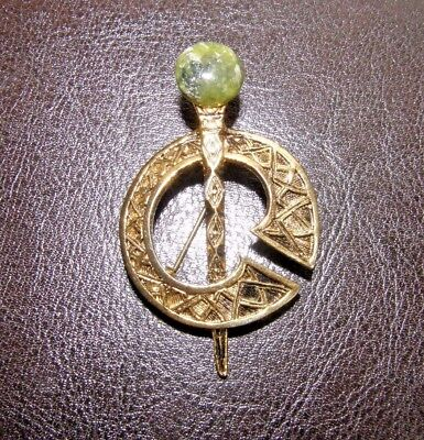 Vintage Celtic Brooch or Penannular Gold Tone Metal w Green Jasper Stone