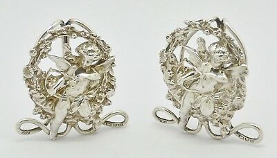 Rare Pair Of Victorian Cupid Solid Silver Menu Holders Hm 1895 Lovely Condition!