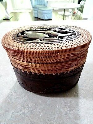 DOUBLE TIER basket lidded TURTLE LIZARD FISH carved INDONESIAN catch-all REPTILE
