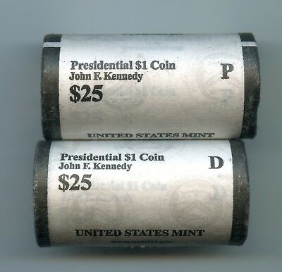 2015 P & D ~ $1 Kennedy Presidential Half Dollar Roll(S)~Mint Wrapped~50 Coins