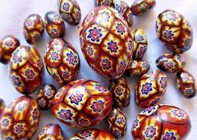 Vintage MILLEFIORI glass beads from MURANO - 26 matching BROWN OVAL shaped