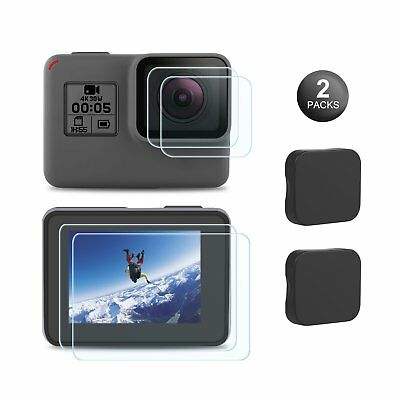 GoPro Hero 6/5 Screen Protector Tempered Glass Ultra Clear Lens Cap Cover 2 Pack