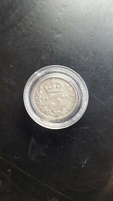 1902 solid silver threepence