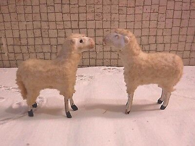 "VINTAGE 2 German Putz Woolly 2"" Sheep with Wood Stick Legs + Red Neck Ribbon"
