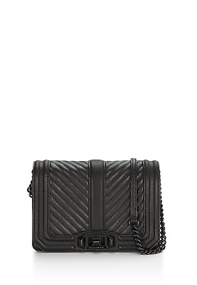 Nwt Rebecca Minkoff Chevron Quilted Small Love Crossbody Black Hh16Mlvx45