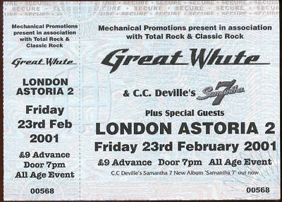 GREAT WHITE Ticket UN-USED London Astoria 2 23rd February 2001