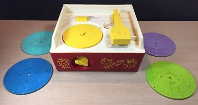 Vintage Fisher-Price Music Box Record Player 1971 With 4 Records 995 Japan