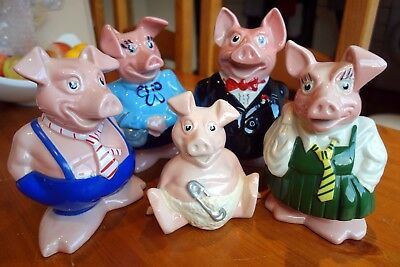 Natwest Pigs Full Set Family 5 Piggy Banks With Original Stoppers Immaculate