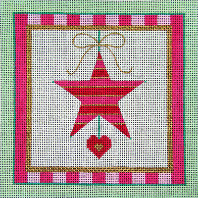 2x HP Needlepoint 18ct BEAU GESTE Ornament with border: star/ball -WD180
