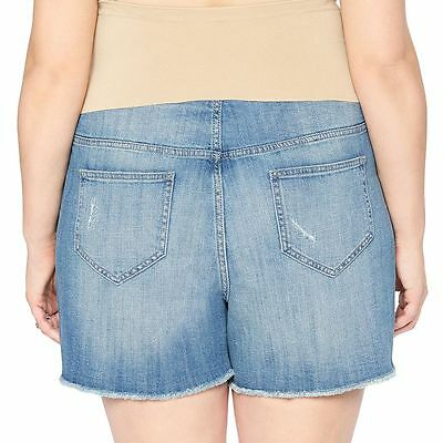 Plus Maternity Oh Baby by Motherhood Secret Fit Belly Destructed Jean Shorts 2X