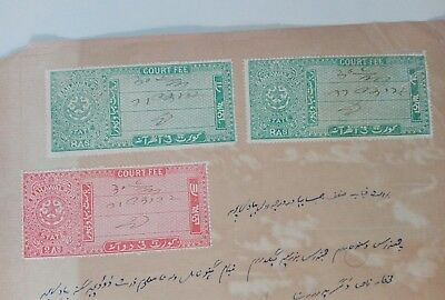 Bahawalpur state  court fee stamps used on document .