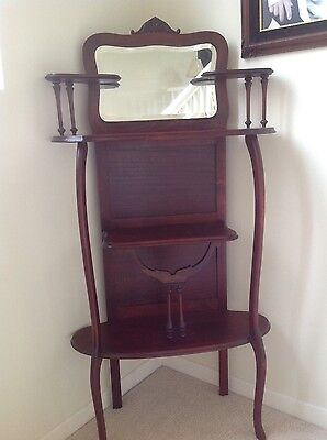 Antique Early 1900's Victorian Mahogany Queen Anne Etagere Curio Display Shelf