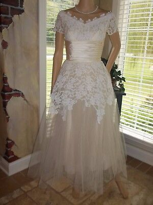 1926 Wedding Dress Champagne/Off White Italian Lace Tucked Satin & Accessories S