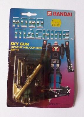 Robo Machine Sky Gun Apache Helicopter Rm-41 Toy & Packaging Backing Card