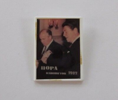 Reagan & Gorbachev Rectangular Picture Button-Made In Russia