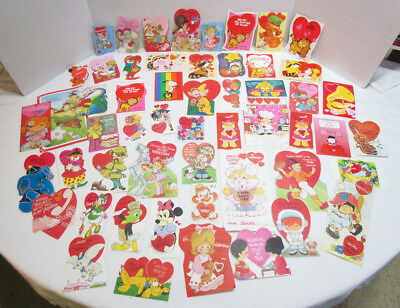 BIG LOT 50+ VINTAGE VALENTINES DAY CARDS 1970's 1980's GARFIELD SNOOPY DISNEY +