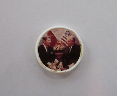 Reagan & Gorbachev Picture Button-Made In Russia