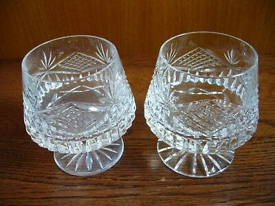 "2 xTyrone Crystal ""SLIEVE DONARD"" Brandy Glasses – 10 CMS Tall - etched to base"