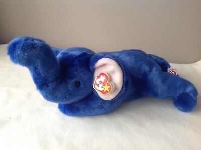 Peanut TY Beanie Buddy The Royal Blue Elephant With Tags Rare
