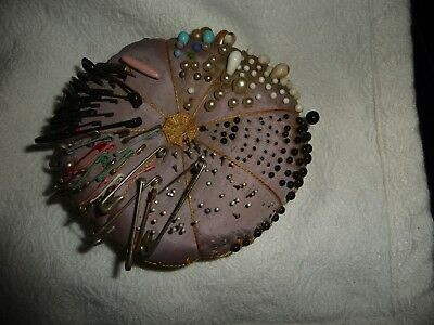 #10/9 antique  fabric pin cushion  WITH PINS