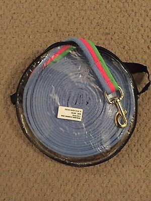 Lunge Line, Training Aid, 8 Meters Soft And Strong-blue, Green And Pink