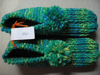 New Handmade Knitted House Slippers Emerald Mix Wms Med/Lg Mans Sm/Med 9 1/4""