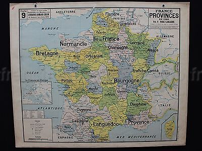 """B840 French Antique School map Poster FRANCE province 1789 two sides 48""""*39"""" ++"""