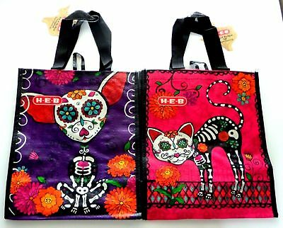 "2 DAY OF THE DEAD Reusable TRICK OR TREAT Bags: CAT + DOG 10""x11.5""x6"" NEW!"