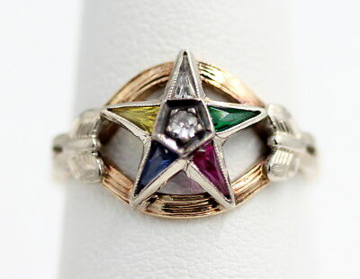 10Kt Yellow Gold Masonic Star Cocktail Ring Size 5.5 - Nr #30