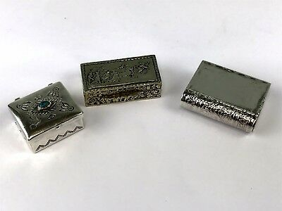 Group 3 Small Silver Pill Boxes, 1 Italy, 1 Native American, 1 American