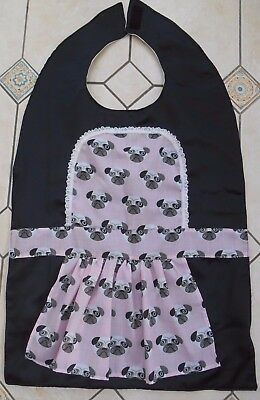 Adult Disability Bib Apron Clothes Protector, Pink Pug Dogs (French Maid)