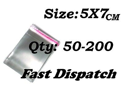 50 - 200 Cellophane Bags 5 X 7 cm Clear Cello Display Self Adhesive Peel & Seal