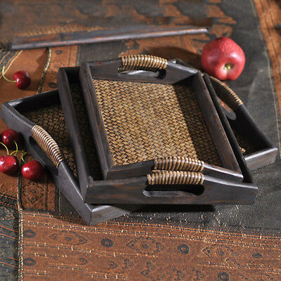 Wood Wooden Serving Tray Plate Tea Food Platter Home Decoration 3 Choices