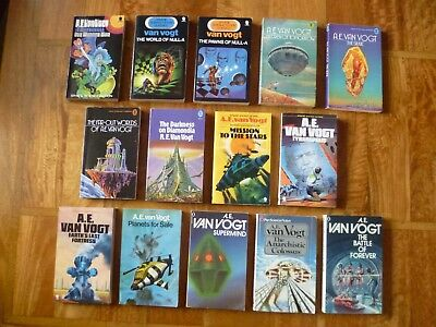 14 A.E. van Vogt paperbacks 1970 to 1980 e.g. The World of Null-A